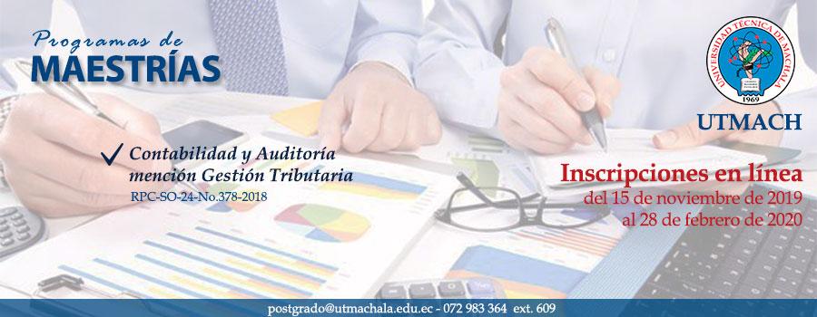Periodo de admisión maestría contabilidad y auditoría inicia el 15 de noviembre de 2019