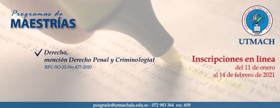Admisiones de la maestría de Derecho mención Derecho Penal y Criminología